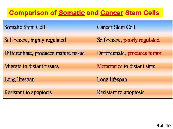 Comparison of Somatic and Cancer Stem Cells Somatic Stem Cell Cancer Stem Cell Self