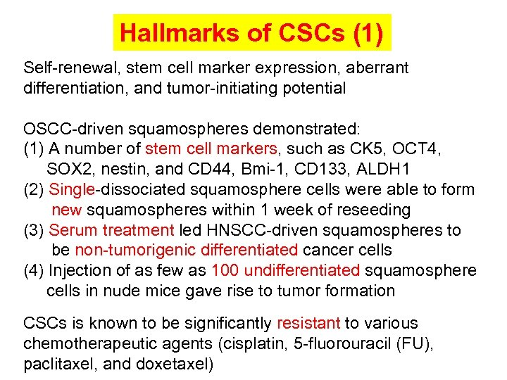 Hallmarks of CSCs (1) Self-renewal, stem cell marker expression, aberrant differentiation, and tumor-initiating potential