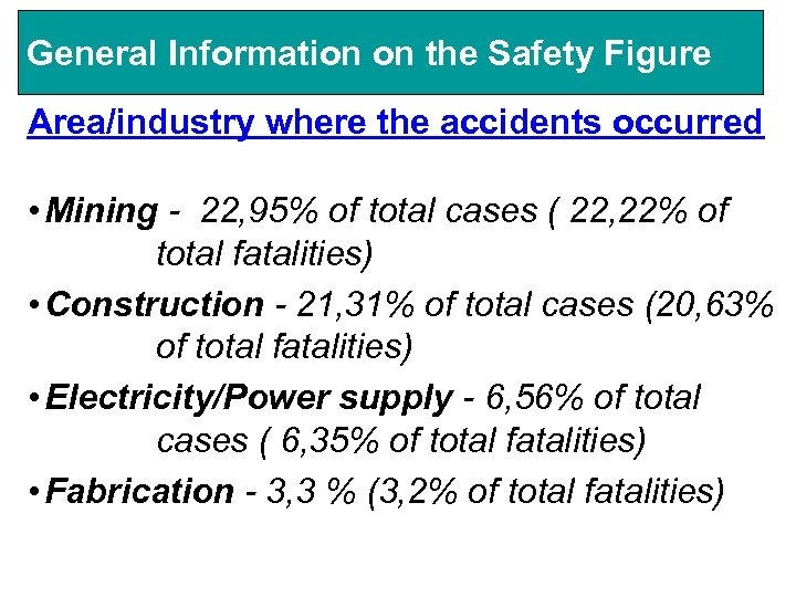 General Information on the Safety Figure Area/industry where the accidents occurred • Mining -