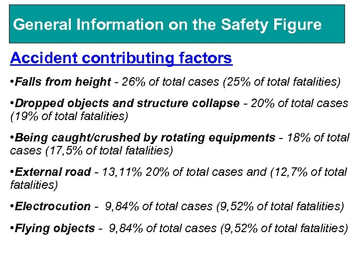 General Information on the Safety Figure Accident contributing factors • Falls from height -