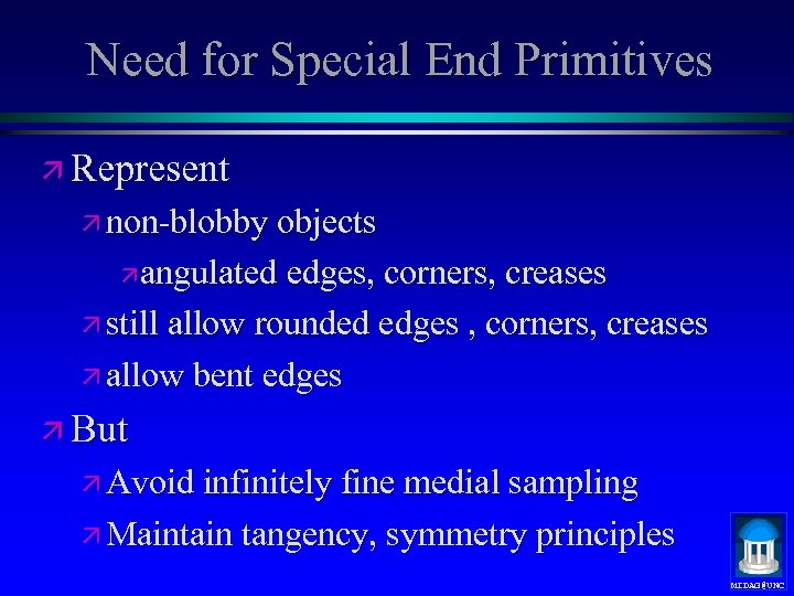 Need for Special End Primitives ä Represent ä non-blobby objects ä angulated edges, corners,
