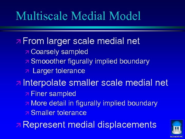 Multiscale Medial Model ä From larger scale medial net ä Coarsely sampled ä Smooother