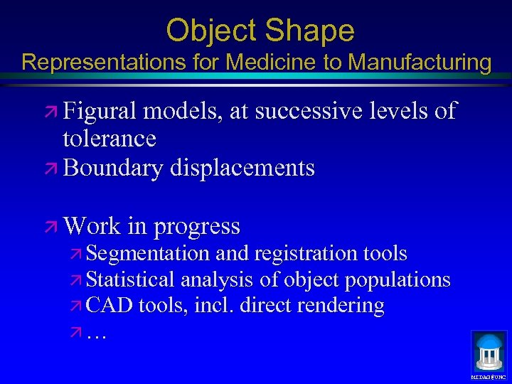 Object Shape Representations for Medicine to Manufacturing ä Figural models, at successive levels of