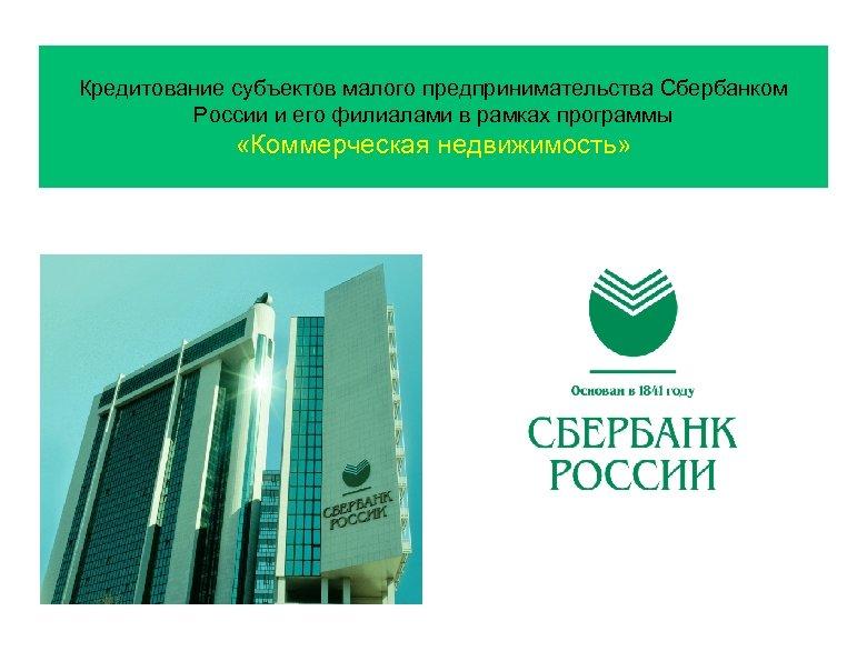 Кредитование субъектов малого предпринимательства Сбербанком России и его филиалами в рамках программы «Коммерческая недвижимость»