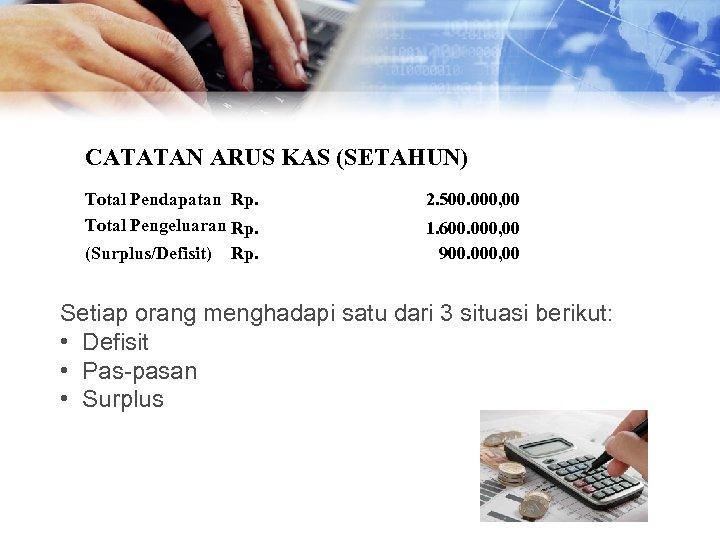 CATATAN ARUS KAS (SETAHUN) Total Pendapatan Rp. Total Pengeluaran Rp. (Surplus/Defisit) Rp. 2. 500.