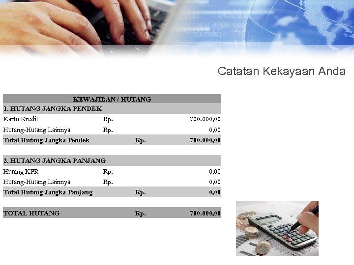 Catatan Kekayaan Anda KEWAJIBAN / HUTANG 1. HUTANG JANGKA PENDEK Kartu Kredit Rp. 700.