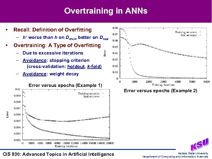 Overtraining in ANNs • Recall: Definition of Overfitting – h' worse than h on