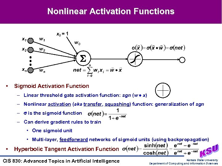 Nonlinear Activation Functions x 1 x 2 w 2 xn • w 1 x
