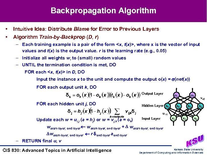 Backpropagation Algorithm • Intuitive Idea: Distribute Blame for Error to Previous Layers • Algorithm