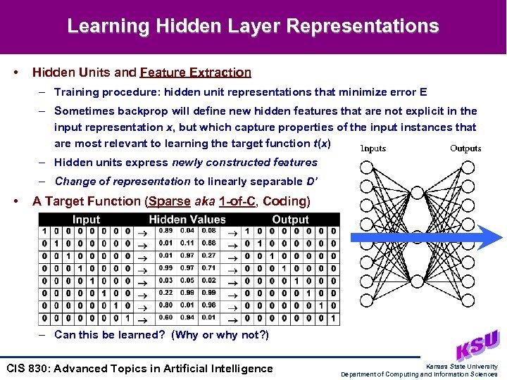 Learning Hidden Layer Representations • Hidden Units and Feature Extraction – Training procedure: hidden