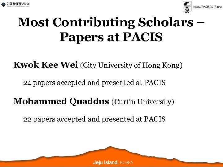Most Contributing Scholars – Papers at PACIS Kwok Kee Wei (City University of Hong