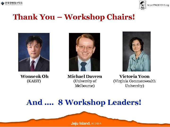 Thank You – Workshop Chairs! Wonseok Oh Michael Davern Victoria Yoon (KAIST) (University of
