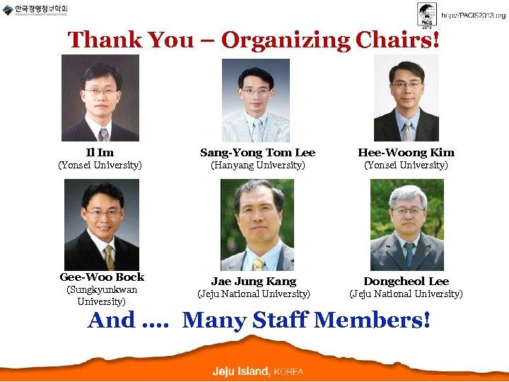 Thank You – Organizing Chairs! Il Im Sang-Yong Tom Lee Hee-Woong Kim (Yonsei University)