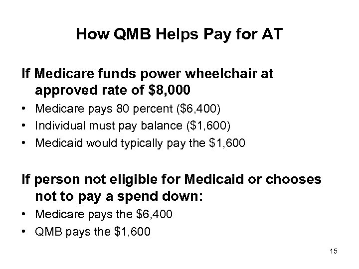 How QMB Helps Pay for AT If Medicare funds power wheelchair at approved rate
