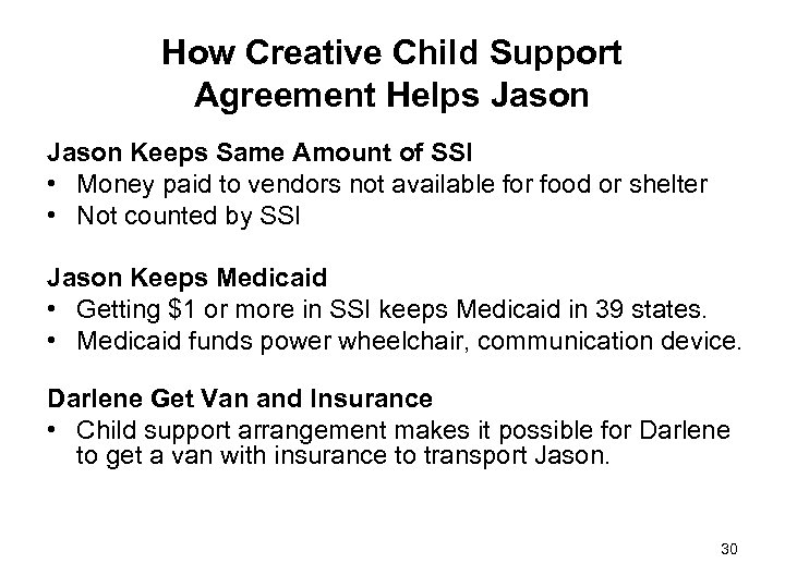 How Creative Child Support Agreement Helps Jason Keeps Same Amount of SSI • Money