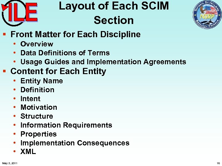 Layout of Each SCIM Section § Front Matter for Each Discipline • Overview •