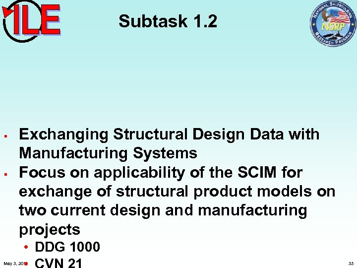 Subtask 1. 2 § § Exchanging Structural Design Data with Manufacturing Systems Focus on