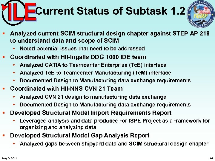 Current Status of Subtask 1. 2 § Analyzed current SCIM structural design chapter against