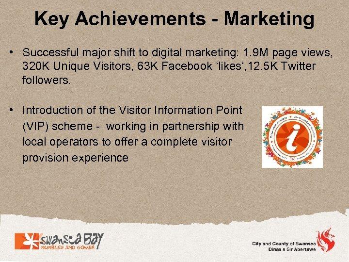 Key Achievements - Marketing • Successful major shift to digital marketing: 1. 9 M