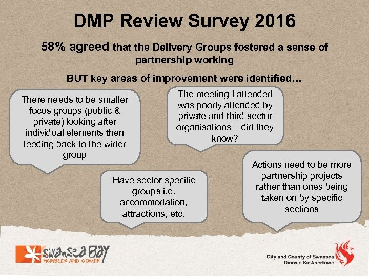 DMP Review Survey 2016 58% agreed that the Delivery Groups fostered a sense of