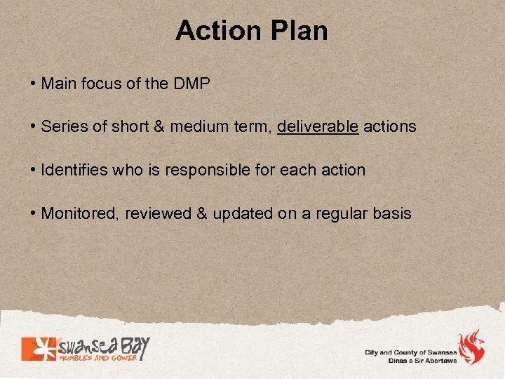 Action Plan • Main focus of the DMP • Series of short & medium