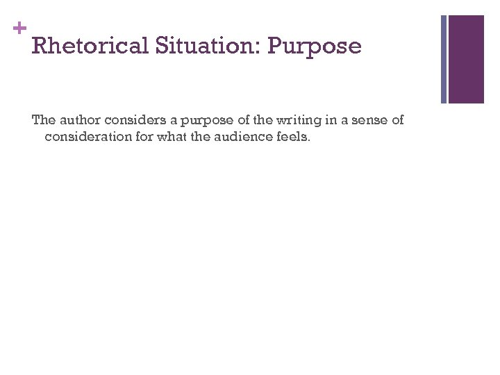 + Rhetorical Situation: Purpose The author considers a purpose of the writing in a