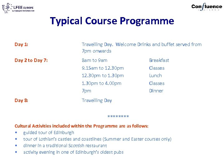 Typical Course Programme Day 1: Travelling Day. Welcome Drinks and buffet served from 7