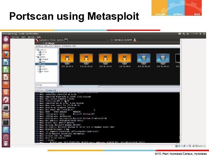 Portscan using Metasploit BITS, Pilani Hyderabad Campus, Hyderabad