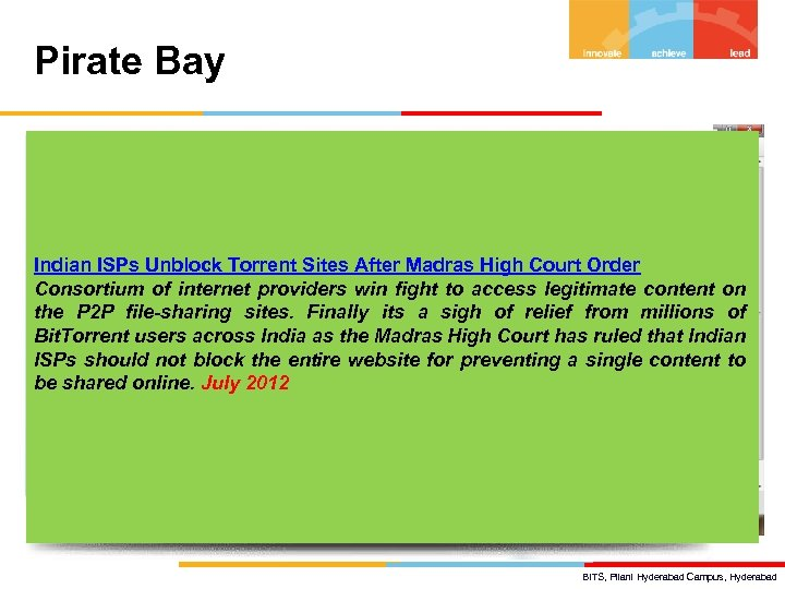 Pirate Bay Indian ISPs Unblock Torrent Sites After Madras High Court Order Consortium of