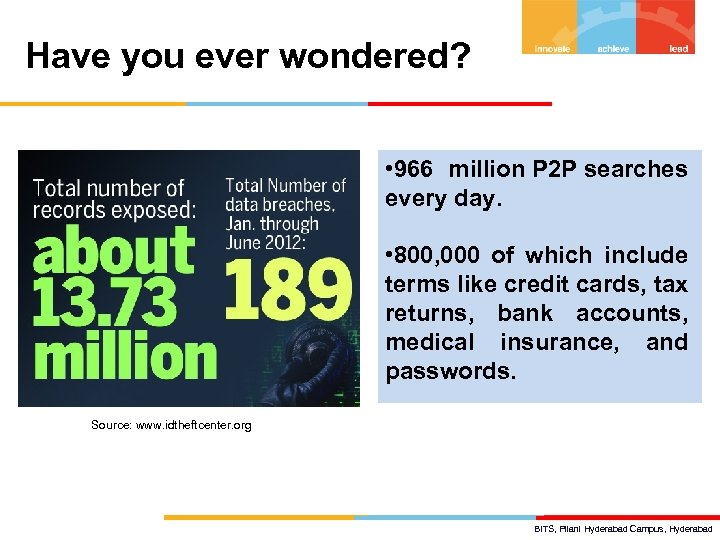Have you ever wondered? • 966 million P 2 P searches every day. •