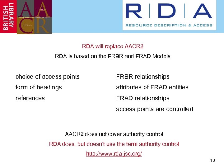RDA will replace AACR 2 RDA is based on the FRBR and FRAD Models