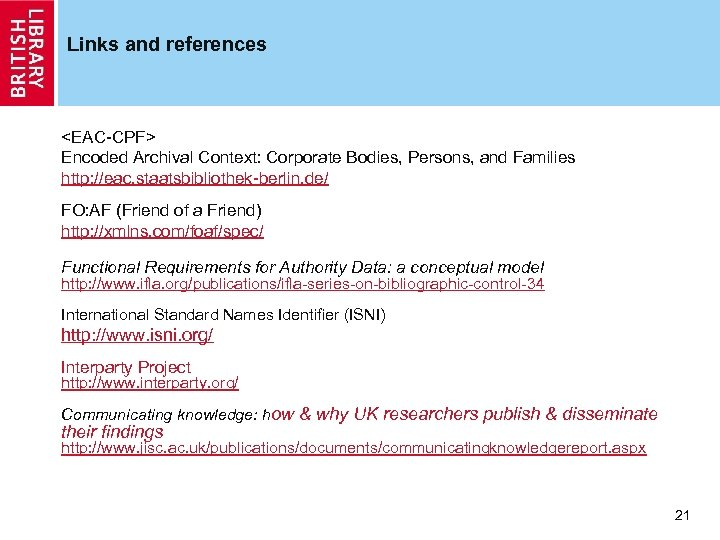 Links and references <EAC-CPF> Encoded Archival Context: Corporate Bodies, Persons, and Families http: //eac.