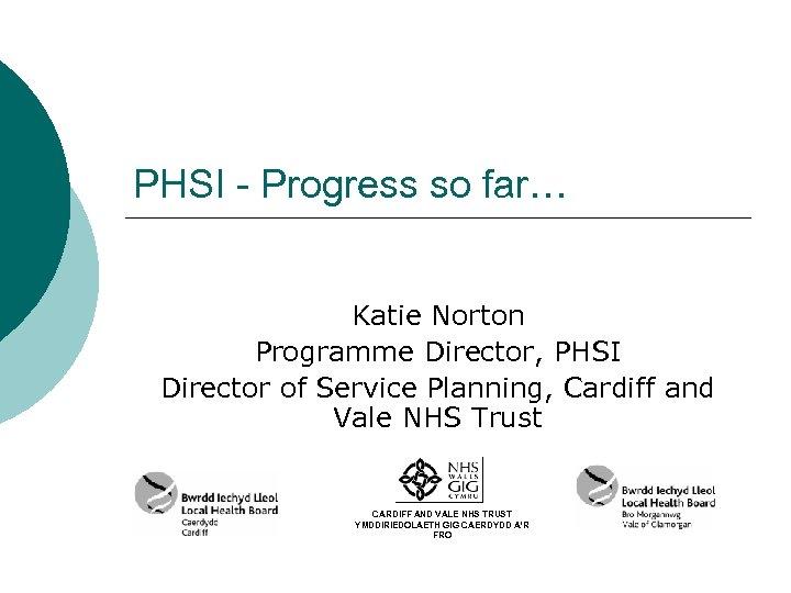 PHSI - Progress so far… Katie Norton Programme Director, PHSI Director of Service Planning,