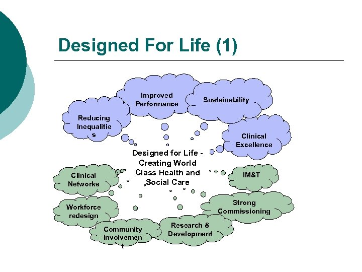 Designed For Life (1) Improved Performance Sustainability Reducing Inequalitie s Clinical Networks Clinical Excellence