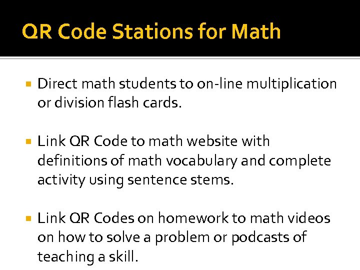 QR Code Stations for Math Direct math students to on-line multiplication or division flash