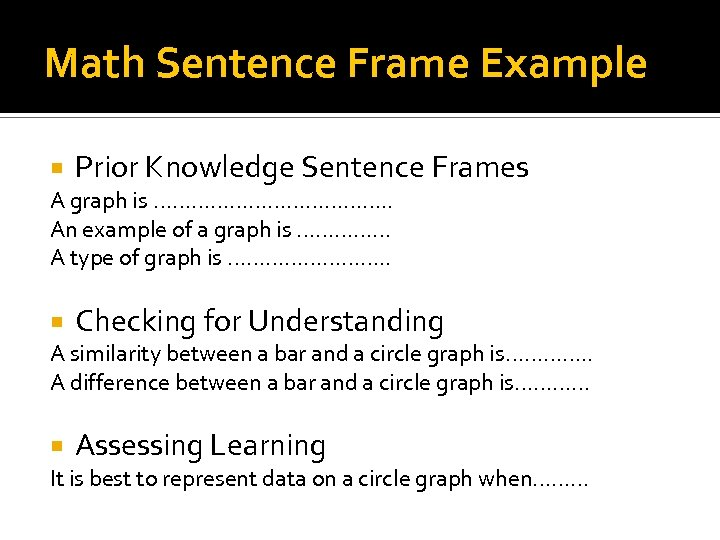 Math Sentence Frame Example Prior Knowledge Sentence Frames A graph is ………………. . An