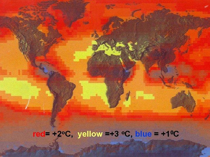 red= +2 o. C, yellow =+3 o. C, blue = +10 C