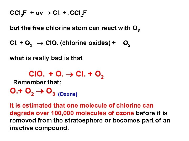 CCl 3 F + uv Cl. +. CCl 2 F but the free chlorine