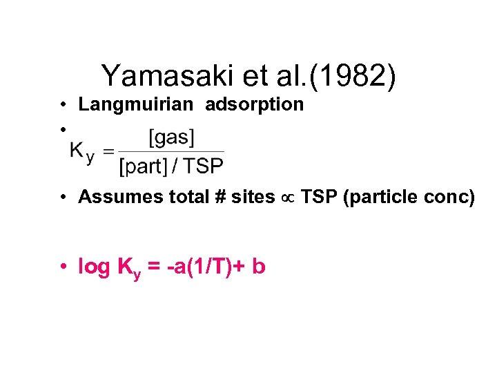 Yamasaki et al. (1982) • Langmuirian adsorption • • Assumes total # sites TSP