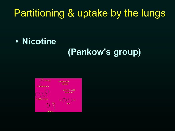 Partitioning & uptake by the lungs • Nicotine (Pankow's group)