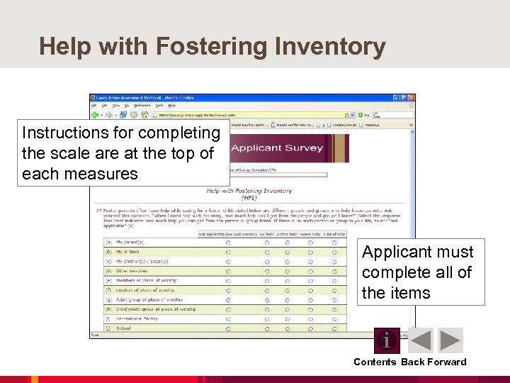 Help with Fostering Inventory Instructions for completing the scale are at the top of