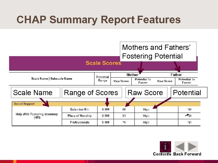 CHAP Summary Report Features Mothers and Fathers' Fostering Potential Scale Name Range of Scores