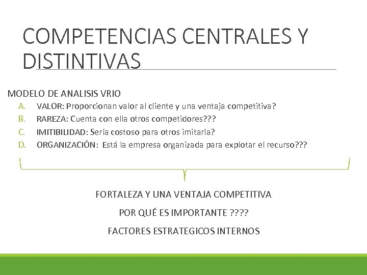 COMPETENCIAS CENTRALES Y DISTINTIVAS MODELO DE ANALISIS VRIO A. B. C. D. VALOR: Proporcionan