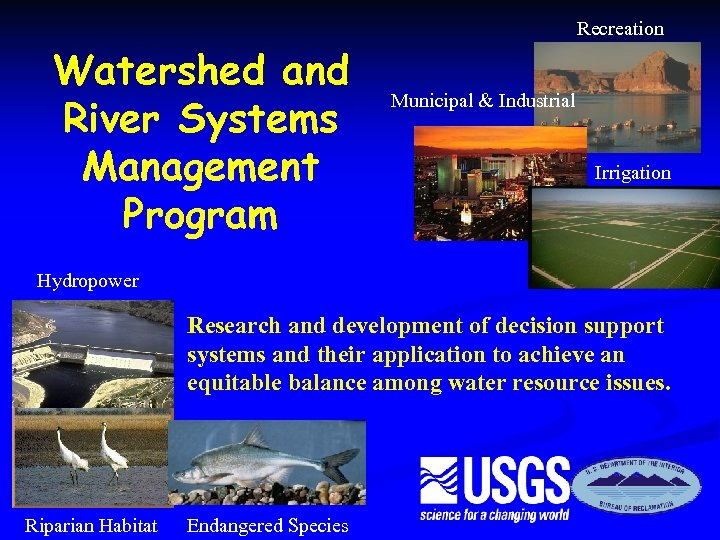 Recreation Watershed and River Systems Management Program Municipal & Industrial Irrigation Hydropower Research and