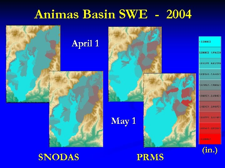 Animas Basin SWE - 2004 April 1 May 1 SNODAS PRMS (in. )