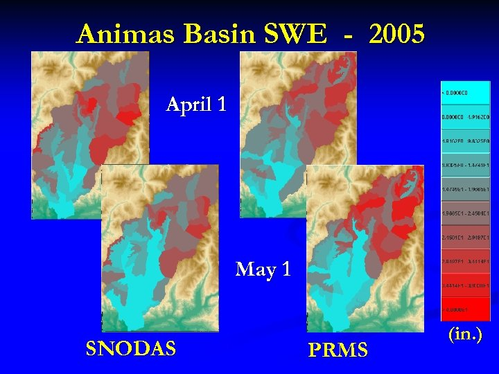 Animas Basin SWE - 2005 April 1 May 1 SNODAS PRMS (in. )