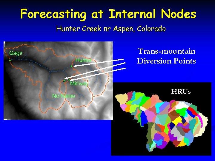 Forecasting at Internal Nodes Hunter Creek nr Aspen, Colorado Gage Hunter Trans-mountain Diversion Points