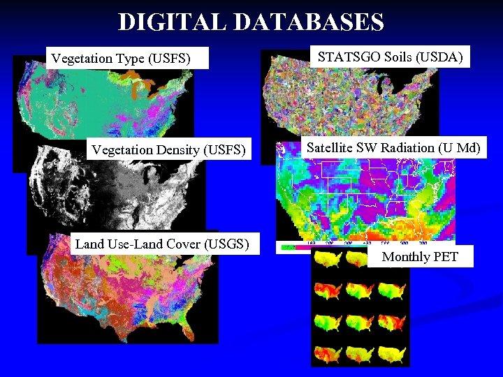 DIGITAL DATABASES Vegetation Type (USFS) Vegetation Density (USFS) Land Use-Land Cover (USGS) STATSGO Soils