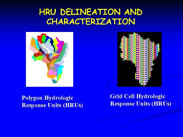 HRU DELINEATION AND CHARACTERIZATION Polygon Hydrologic Response Units (HRUs) Grid Cell Hydrologic Response Units