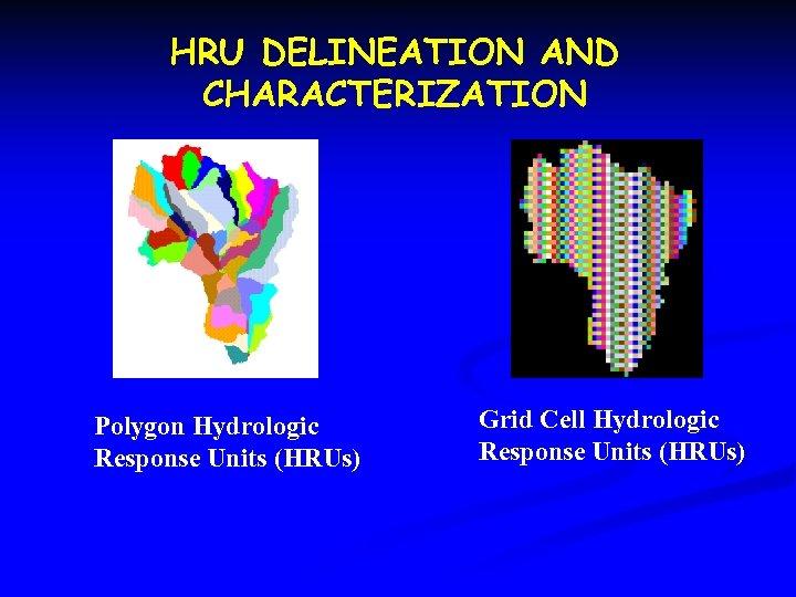 HRU DELINEATION AND CHARACTERIZATION Polygon Hydrologic Response Units (HRUs) Grid Cell Hydrologic Response Units